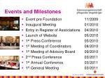 events and milestones