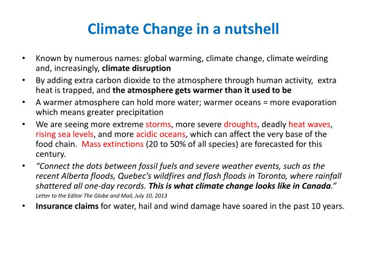 Climate change in a nutshell