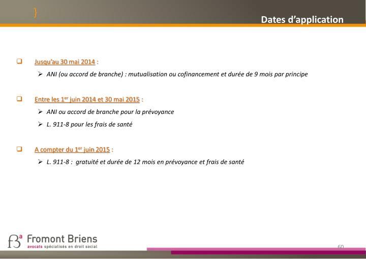 Dates d'application