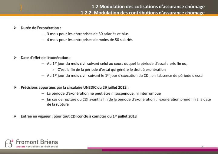 1.2 Modulation des cotisations d'assurance chômage