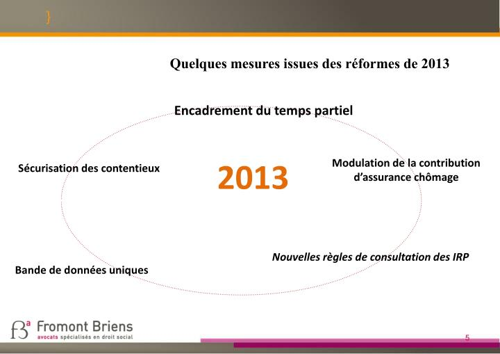 Quelques mesures issues des réformes de 2013