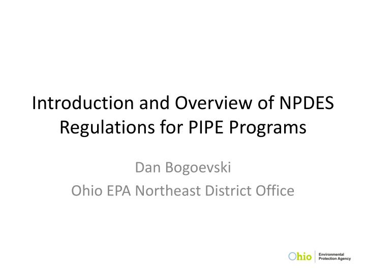 introduction and overview of npdes regulations for pipe programs n.