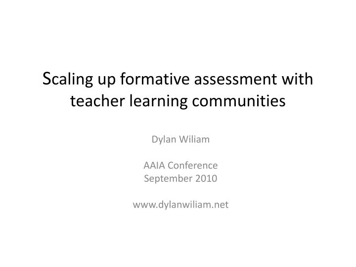s caling up formative assessment with teacher learning communities n.