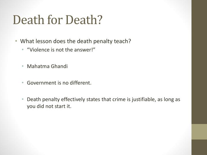 Death for Death?
