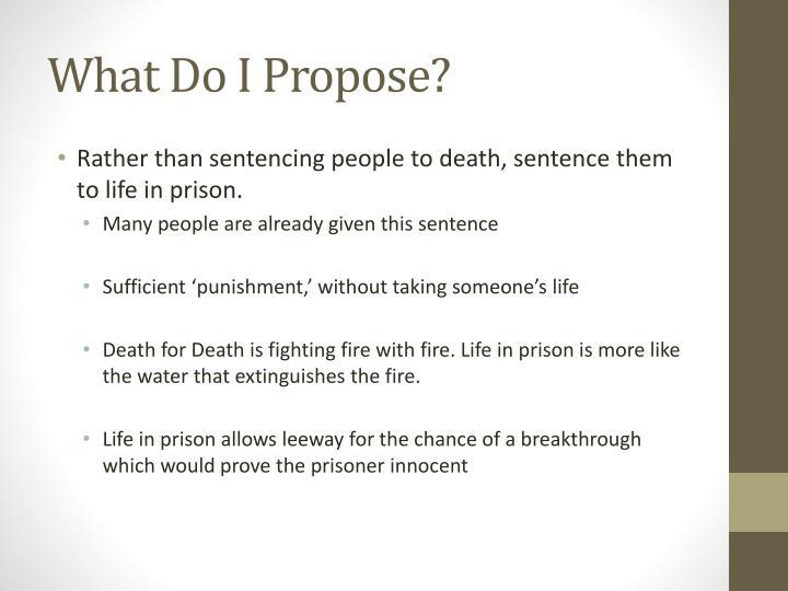 What Do I Propose?