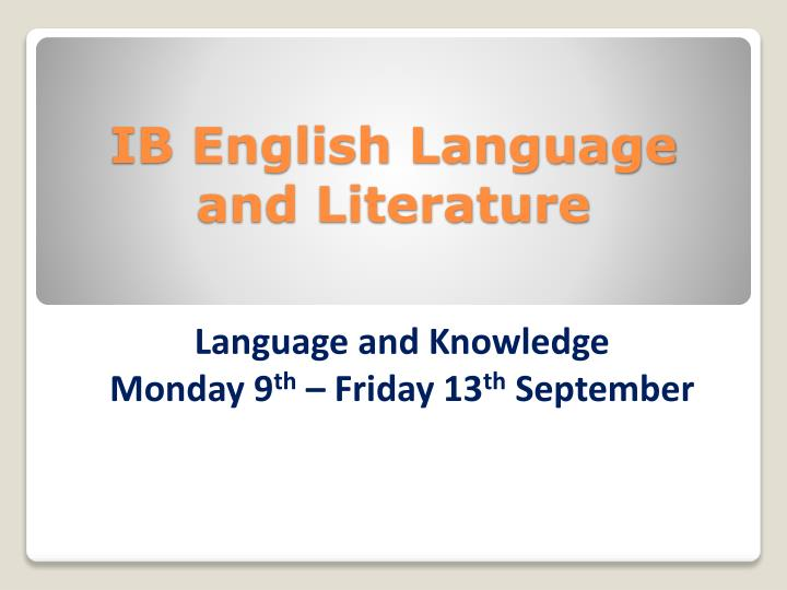 ib english language and literature n.