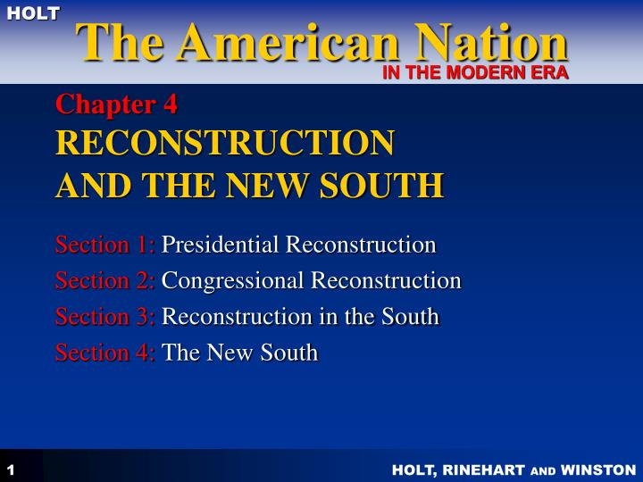 Chapter 4 reconstruction and the new south