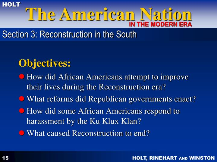Section 3: Reconstruction in the South