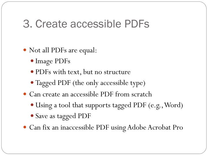 3. Create accessible PDFs