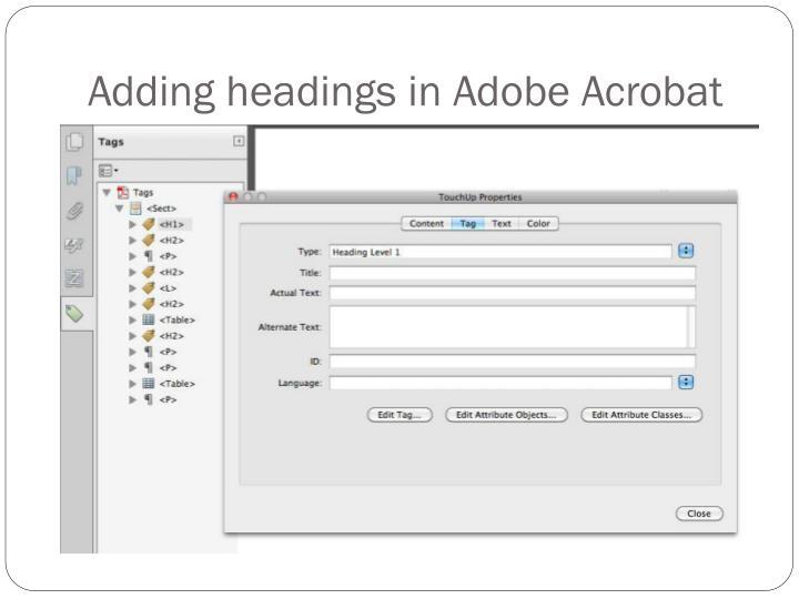 Adding headings in Adobe Acrobat