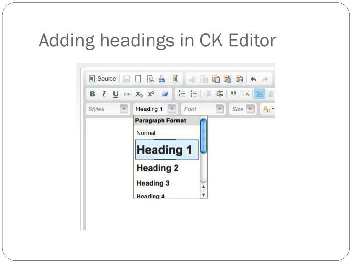 Adding headings in CK Editor