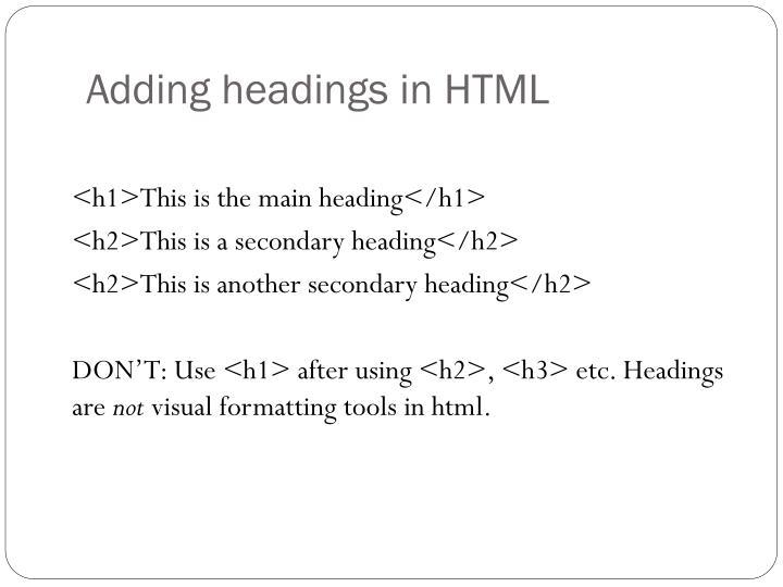 Adding headings in HTML