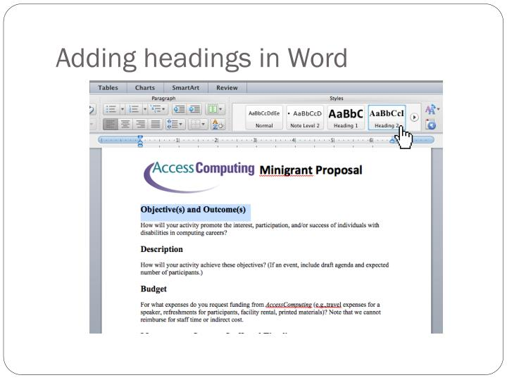Adding headings in Word
