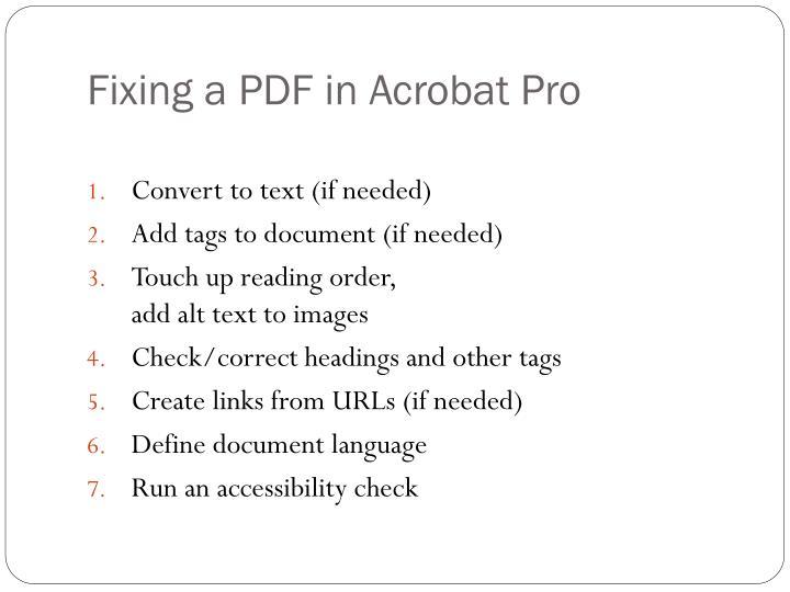 Fixing a PDF in Acrobat Pro