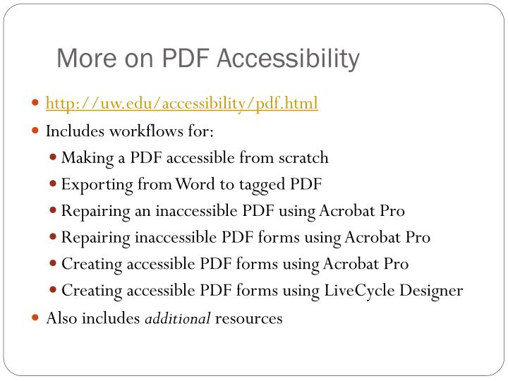 More on PDF Accessibility