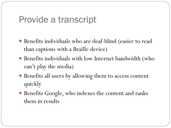 Provide a transcript