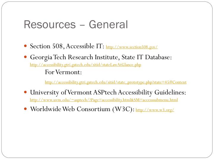 Resources – General