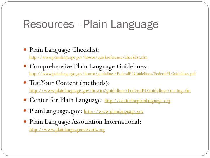 Resources - Plain Language