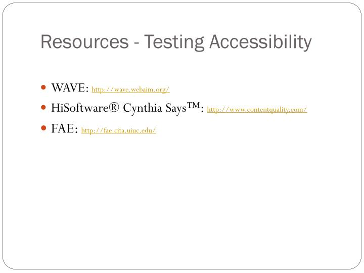 Resources - Testing Accessibility