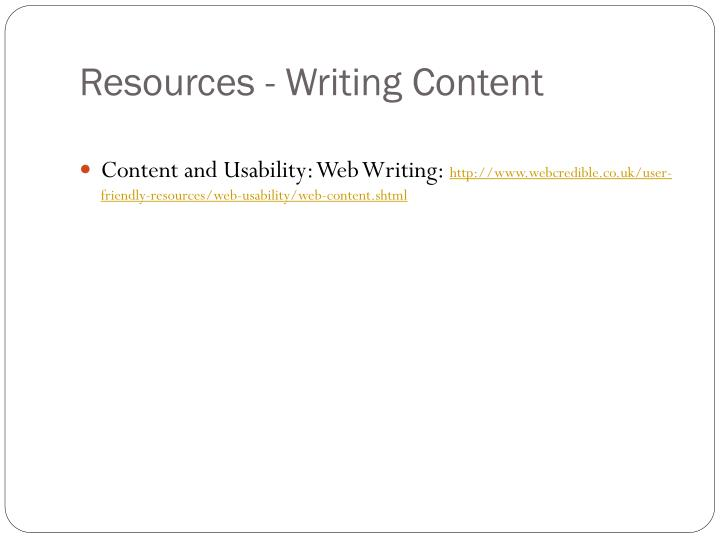 Resources - Writing Content