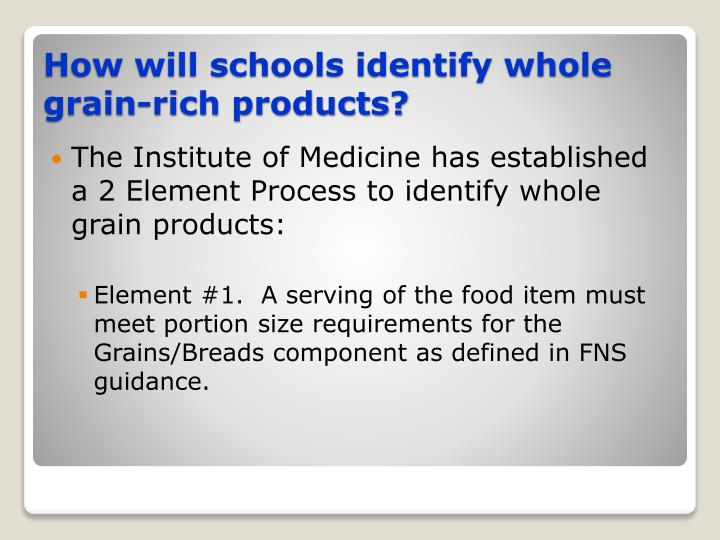 The Institute of Medicine has established a 2 Element Process to identify whole grain products: