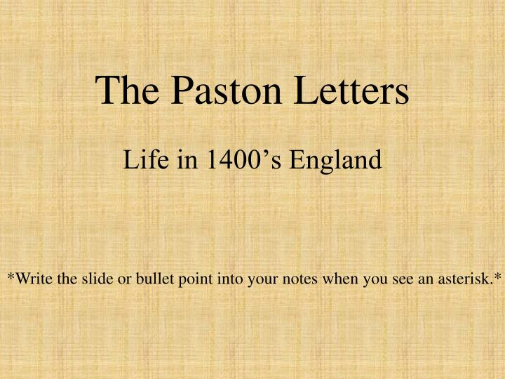 the paston letters n.