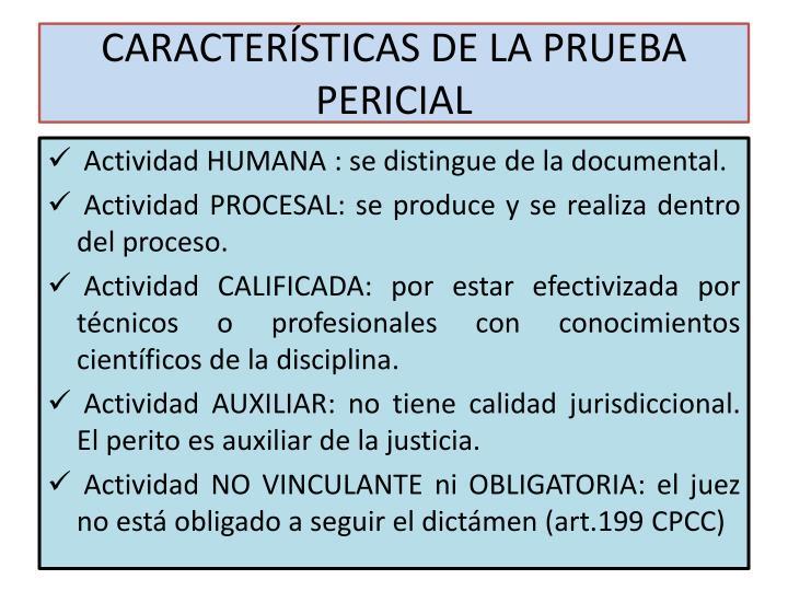 CARACTERÍSTICAS DE LA PRUEBA PERICIAL