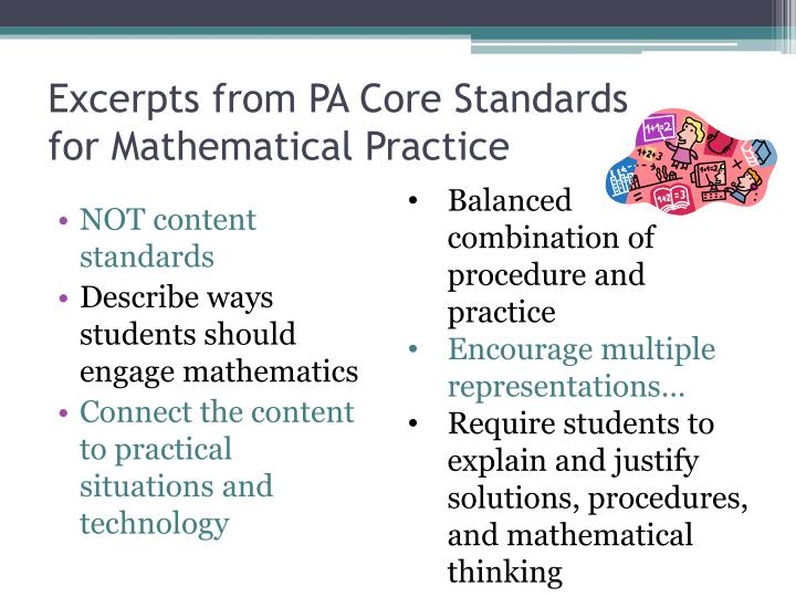 Excerpts from PA Core Standards  for