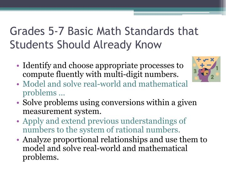 Grades 5-7 Basic Math Standards that  Students
