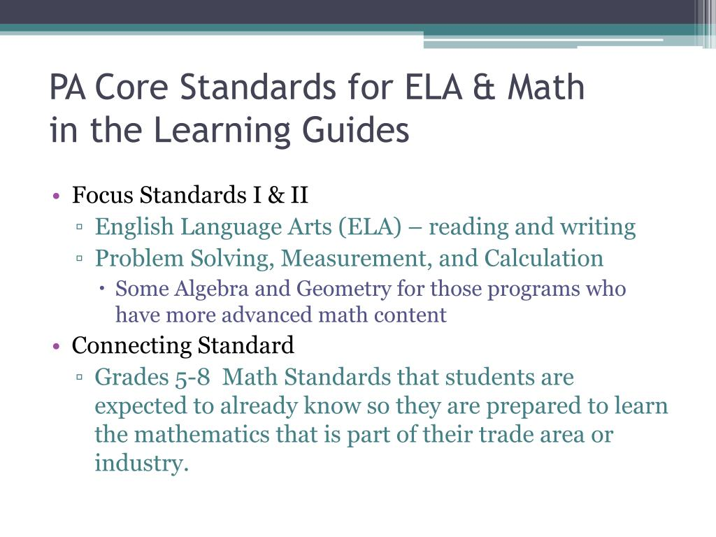 PPT - PA Core Standards and Academic Integration PowerPoint