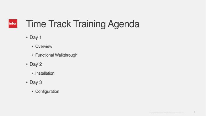 time track training agenda n.