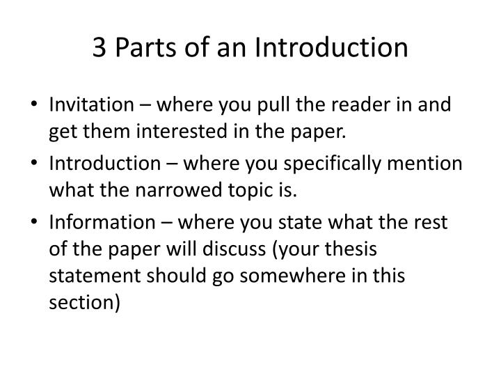 3 parts of an introduction n.