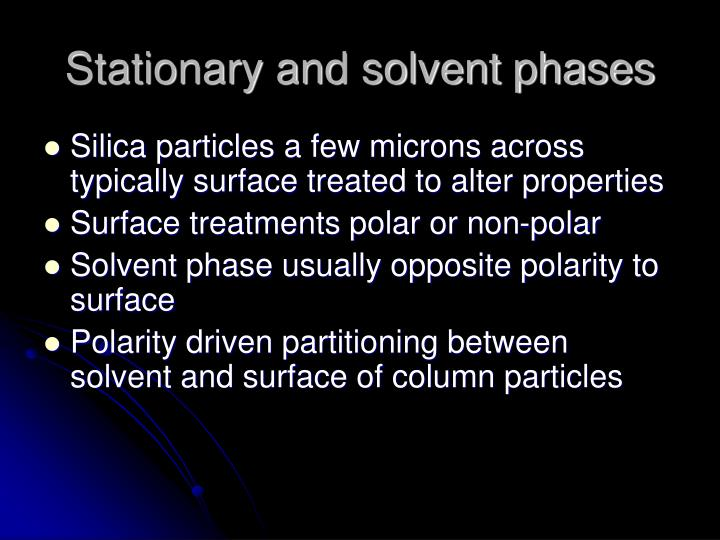 Stationary and solvent phases