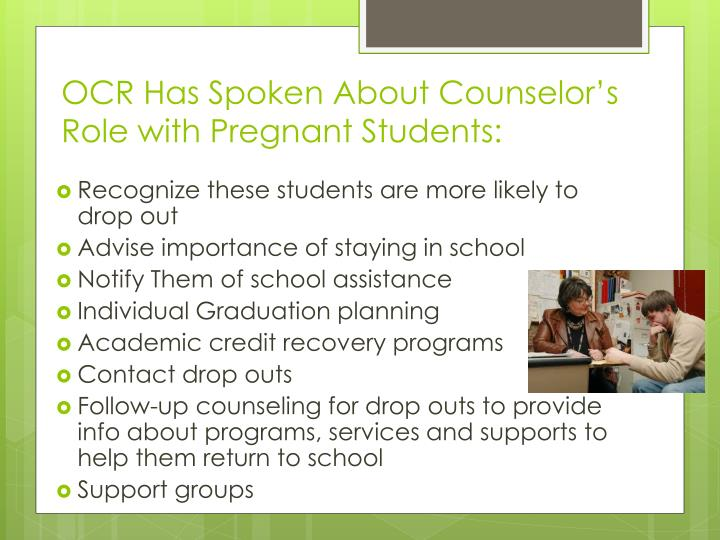 OCR Has Spoken About Counselor's Role with Pregnant Students: