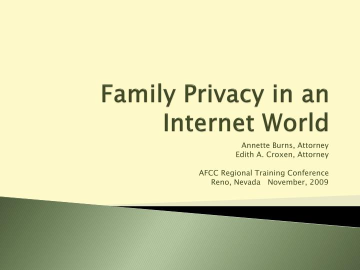 family privacy in an internet world n.
