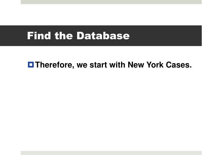 Find the Database