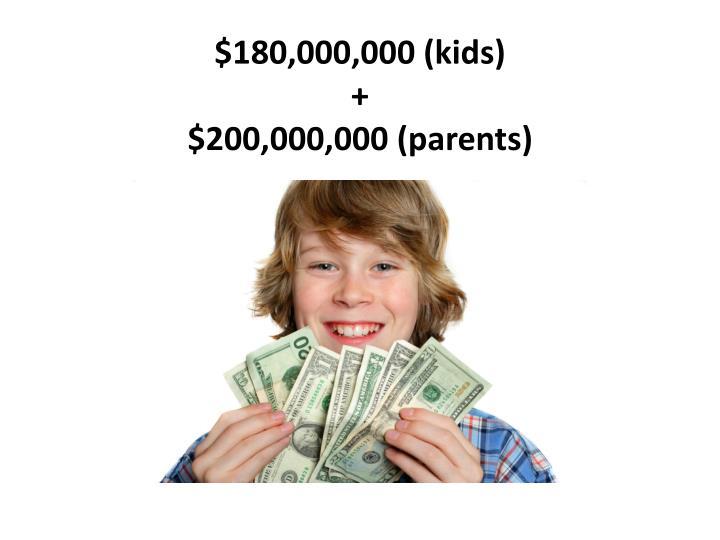 $180,000,000 (kids)