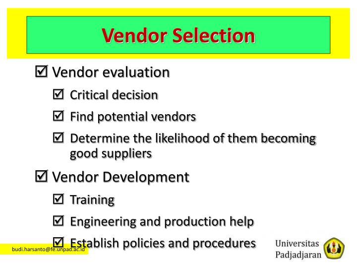 Vendor Selection
