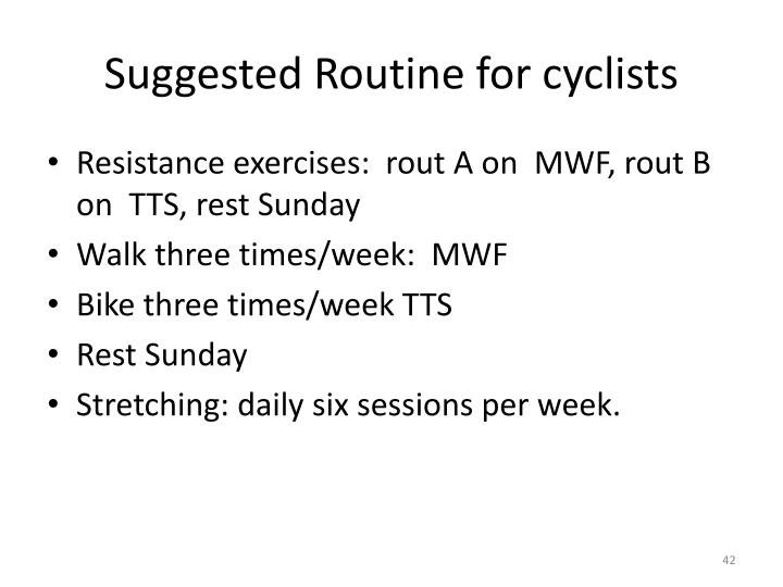Suggested Routine for cyclists