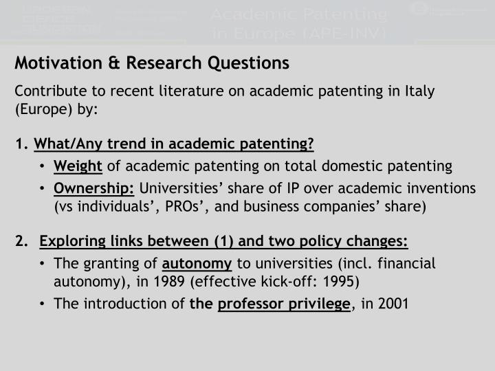 Motivation & Research Questions