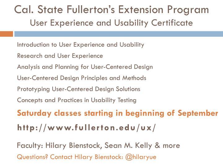 Cal. State Fullerton's Extension Program