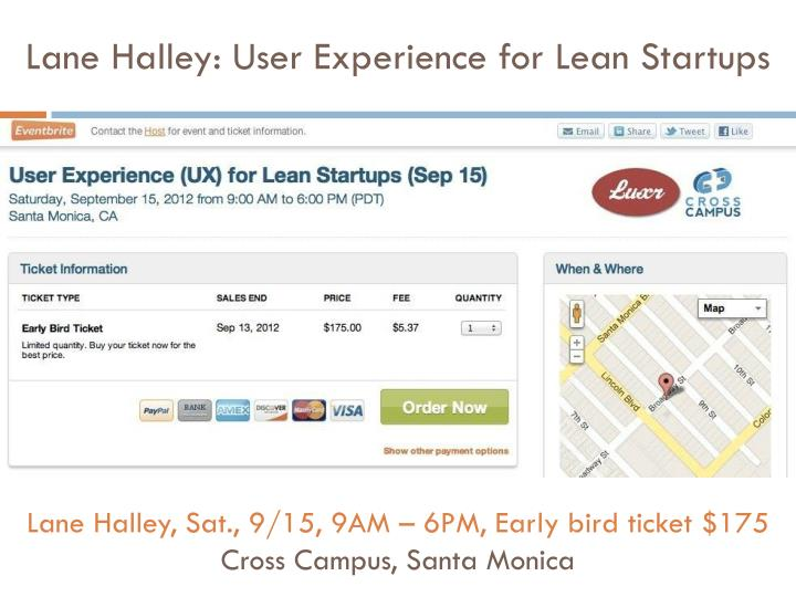 Lane Halley: User Experience for