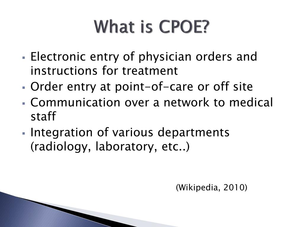 PPT - CPOE Computer-Based Provider Order Entry PowerPoint