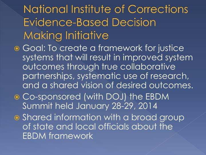 National Institute of Corrections Evidence-Based Decision Making Initiative
