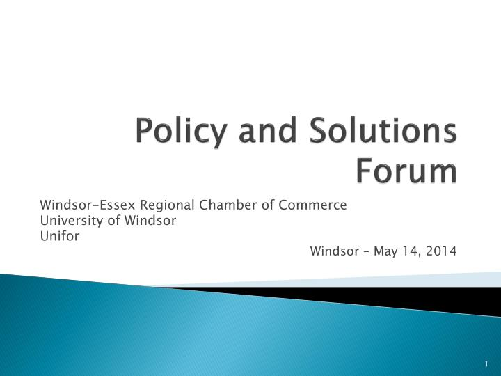 policy and solutions forum n.