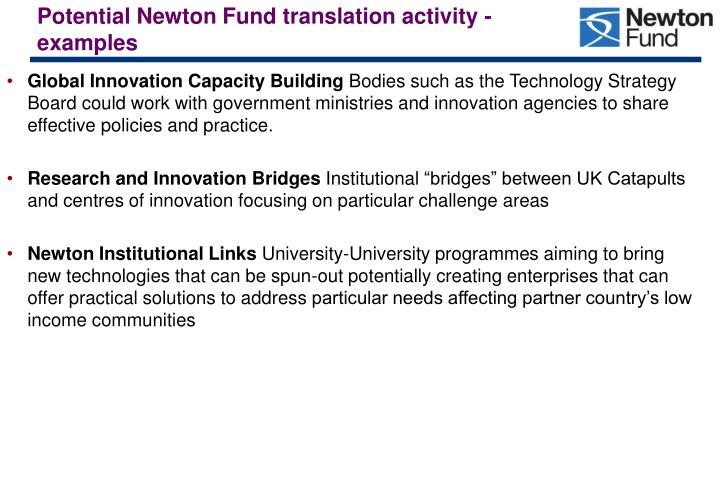 Potential Newton Fund translation activity - examples