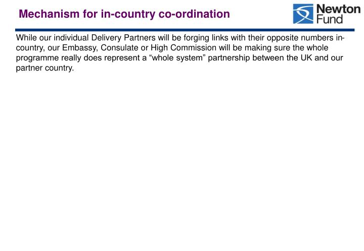 Mechanism for in-country co-ordination