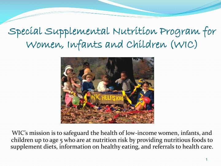 PPT - Special Supplemental Nutrition