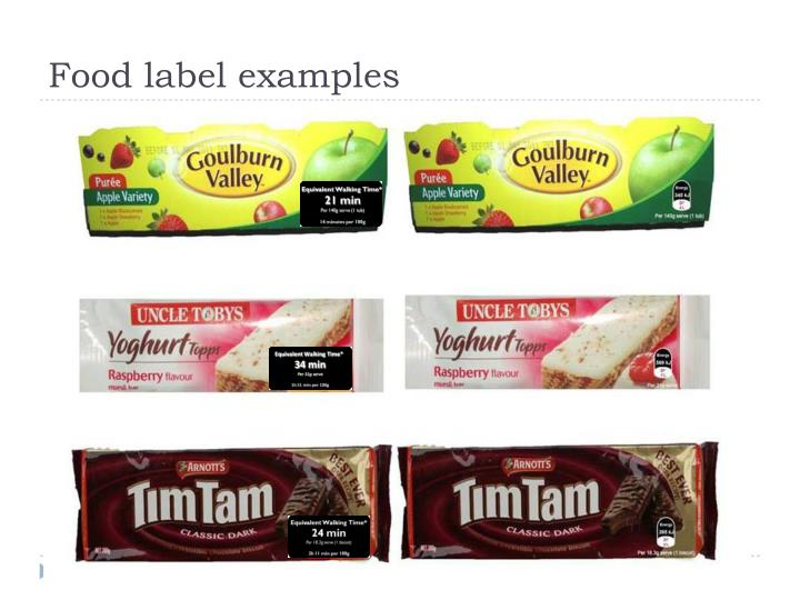 Food label examples