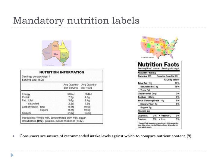 Mandatory nutrition labels